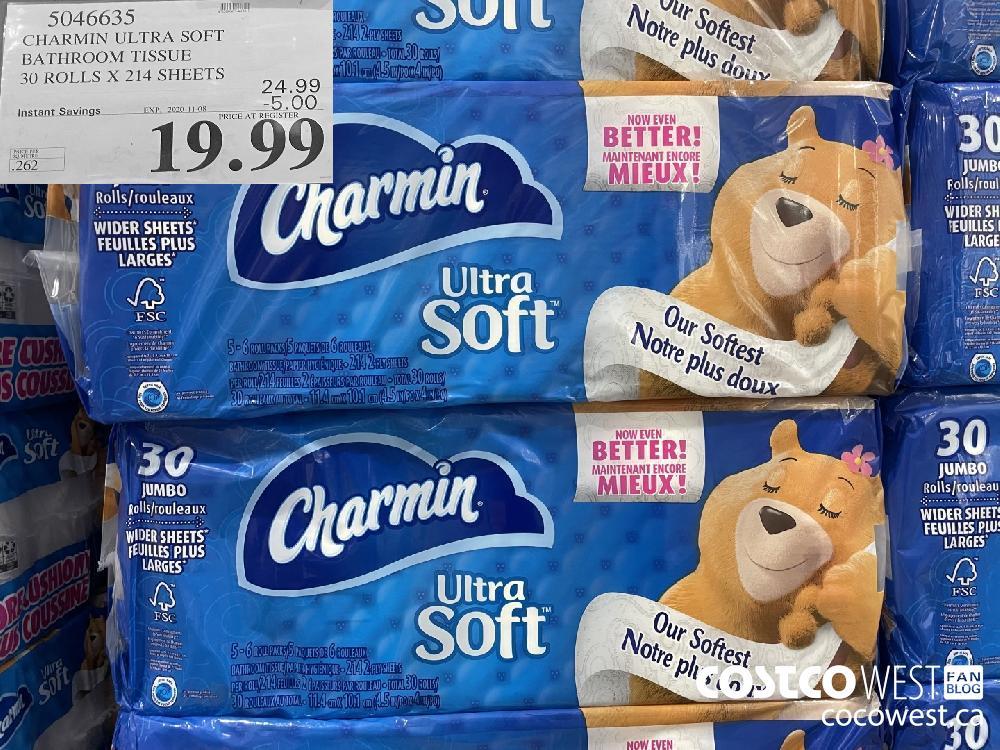 5046635 CHARMIN ULTRA SOFT BATHROOM TISSUE 30 ROLLS X 214 SHEETS EXP. 2020-11-08 $19.99