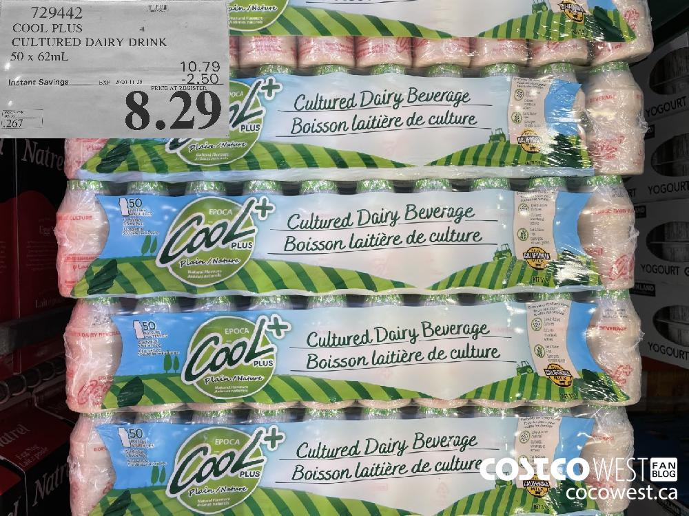 729442 COOL PLUS CULTURED DAIRY DRINK 50 x 62mL EXP. 2020-11-08 $8.29