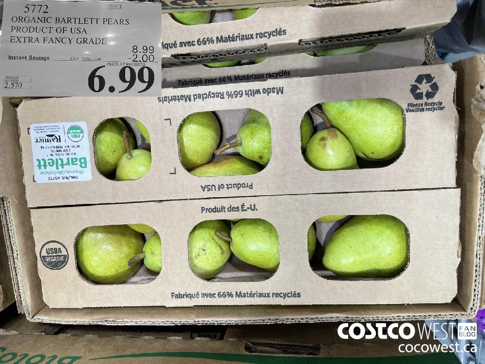 5772 ORGANIC BARTLETT PEARS PRODUCT OF USA EXTRA FANCY GRADE EXP. 2020-11-08 $6.99