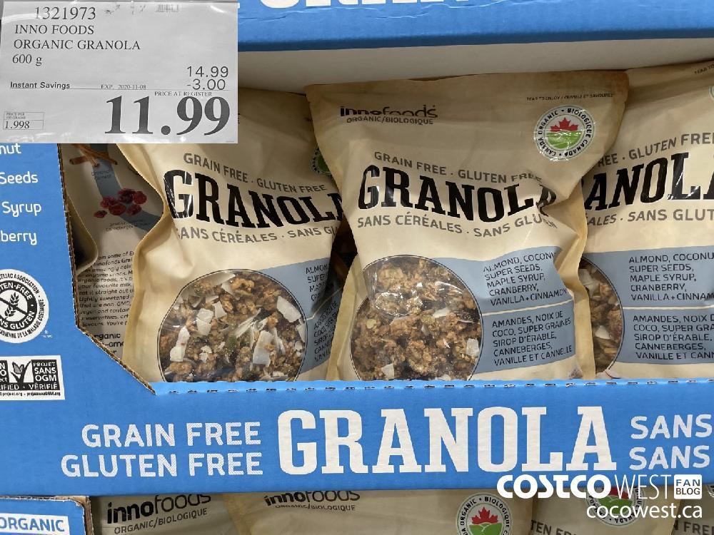 1321973 INNO FOODS ORGANIC GRANOLA 600 g EXP. 2020-11-08 $11.99