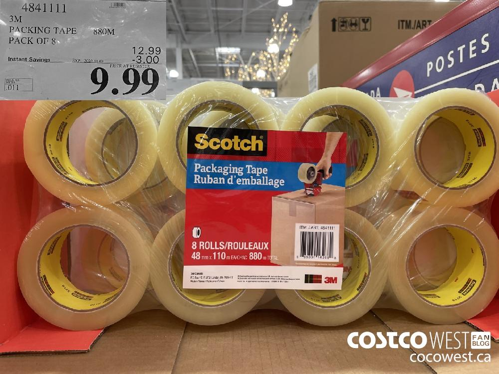 4841111 3M PACKING TAPE 880M PACK OF 8 EXP. 2020-11-08 $9.99