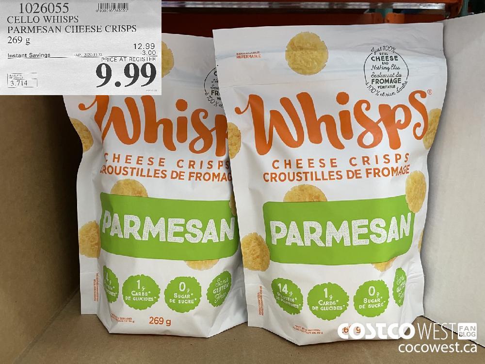 1026055 CELLO WHISPS PARMESAN CHEESE CRISPS 269 g EXP. 2020-11-22 $9.99