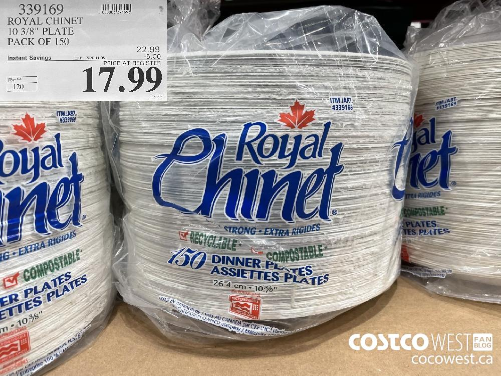 """339169 ROYAL CHINET 10 3/8"""" PLATE PACK OF 150 EXP. 2020-11-08 $17.99"""