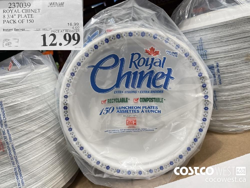 """237039 ROYAL CHINET 8 3/4"""" PLATE PACK OF 150 EXP. 2020-11-08 $12.99"""