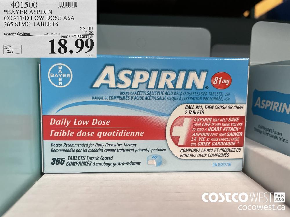 401500 *BAYER ASPIRIN COATED LOW DOSE ASA 365 81MG TABLETS EXP. 2020-11-08 $18.99