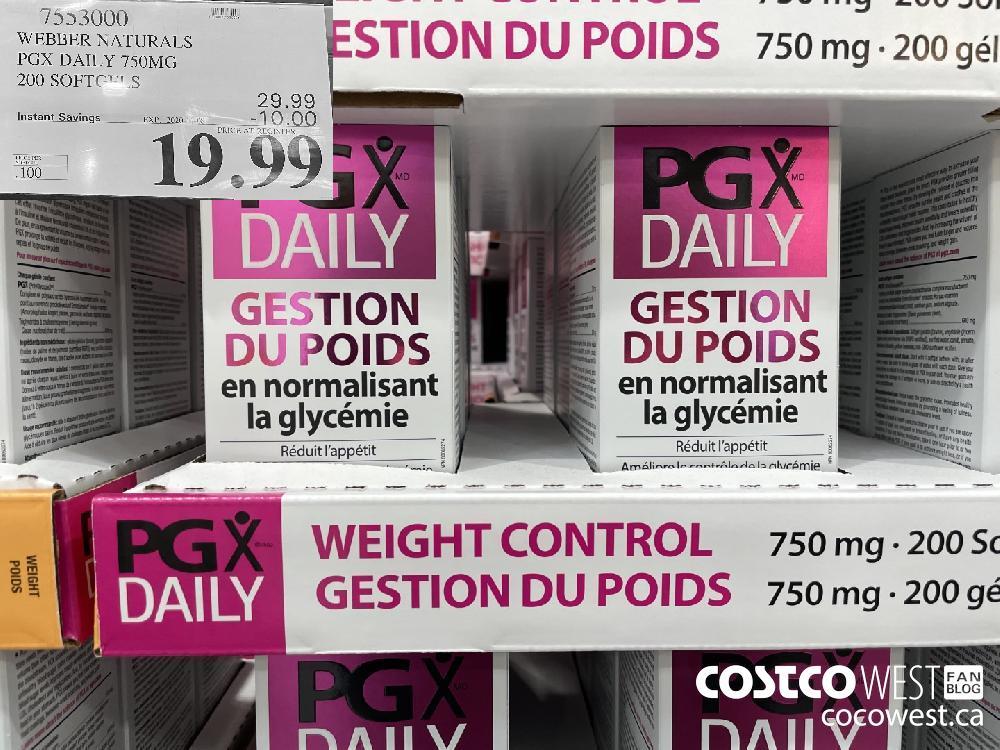 71553000 WEBBER NATURALS PGX DAILY 750MG 200 SOFTGELS EXP. 2020-11-08 $19.99