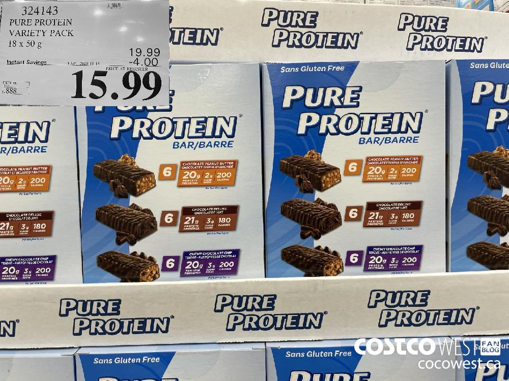 324143 PURE PROTEIN VARIETY PACK 18 x 50g EXP. 2020-11-15 $15.99