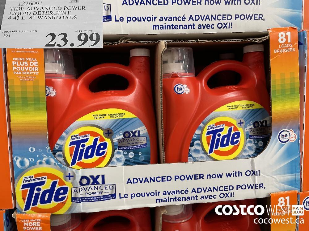 1226091 TIDE ADVANCED POWER LIQUID DETERGENT 4.43 L 81 WASHLOADS $23.99
