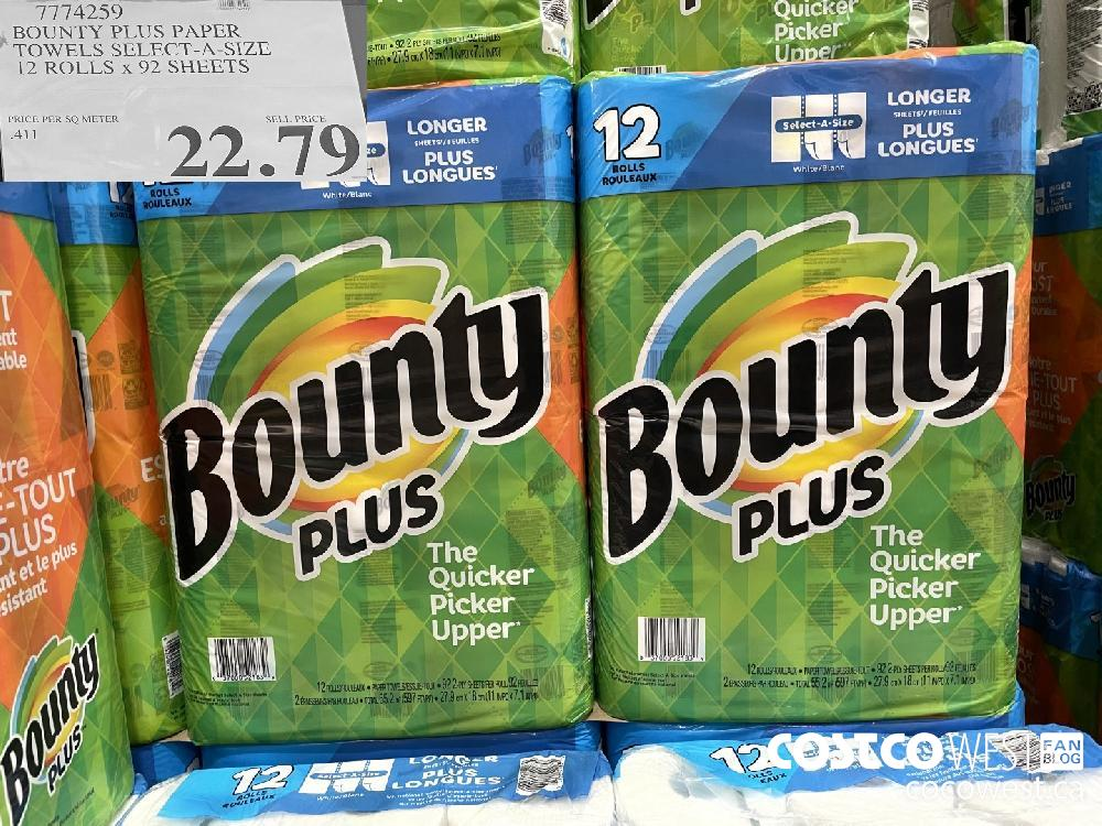 """7774259 BOUNTY PLUS PAPER """"TOWELS SELECT-A-SIZE 12 ROLLS x 92 SHEETS $22.79"""