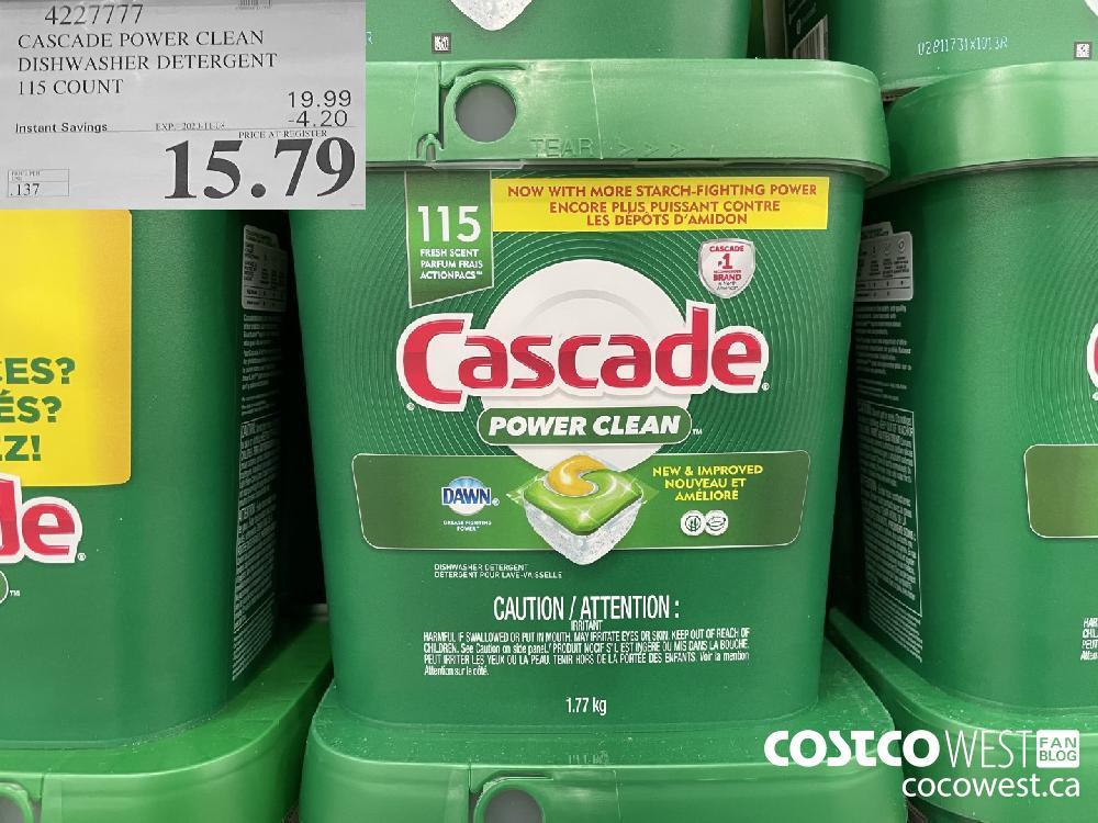 4227777 CASCADE POWER CLEAN DISHWASHER DETERGENT 115 COUNT EXP. 2020-11-08 $15.79