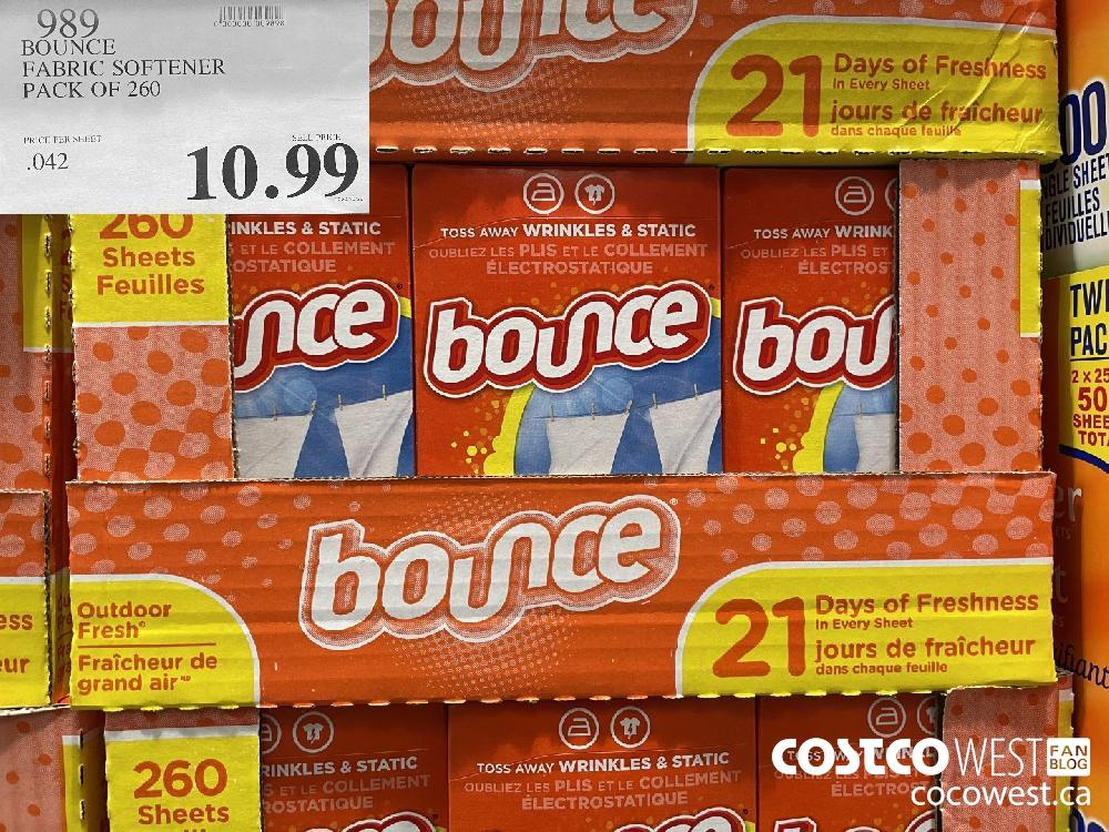 989 BOUNCE FABRIC SOFTENER PACK OF 260 $10.99