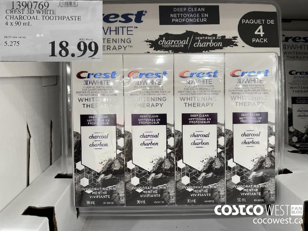 1390769 CREST 3D WHITE CHARCOAL TOOTHPASTE 4 x 90 mL $18.99