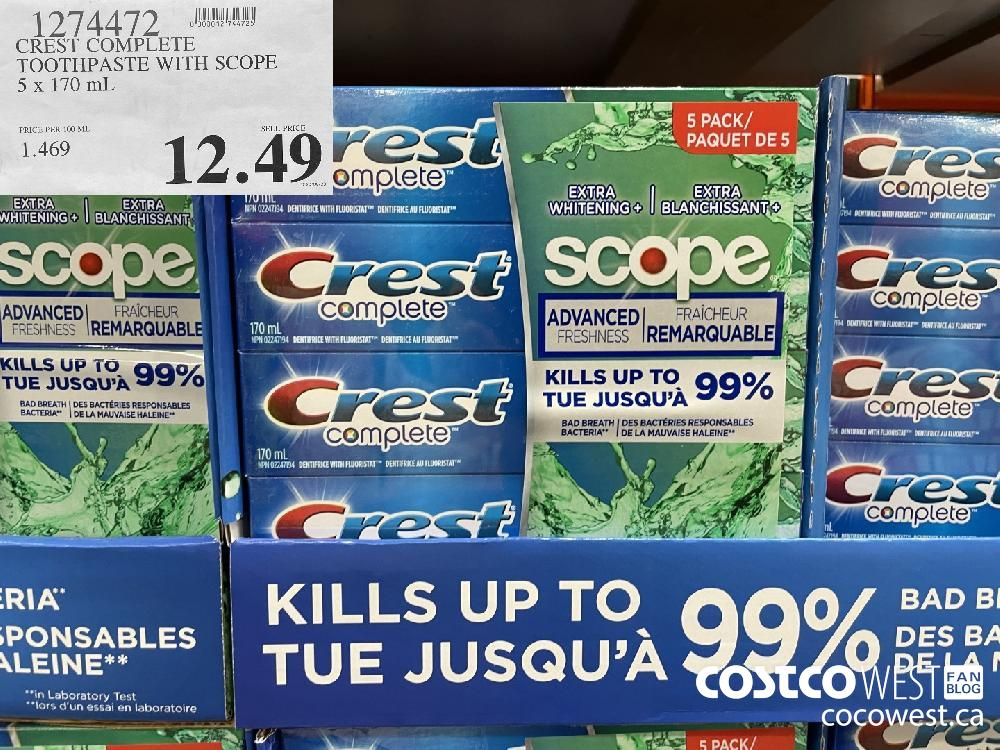 1274472 CREST COMPLETE TOOTHPASTE WITH SCOPE 5 x 170 mL $12.49