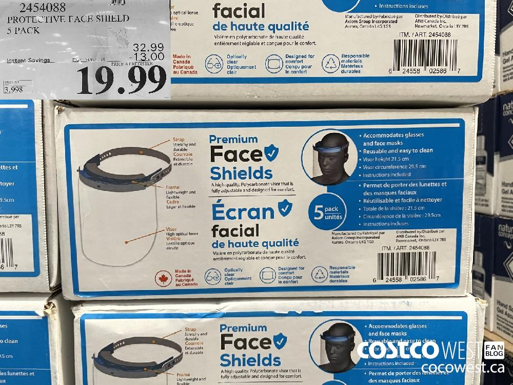 24540383 PROTECTIVE FACE SHIELD 5 PACK EXP. 2020-11-15 $19.99