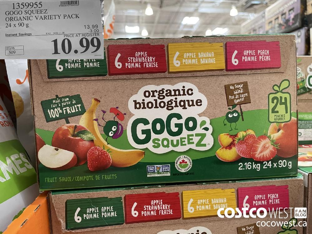 1359955 GOGO SQUEEZ ORGANIC VARIETY PACK 24x 90g EXP. 2020-11-08 $10.99