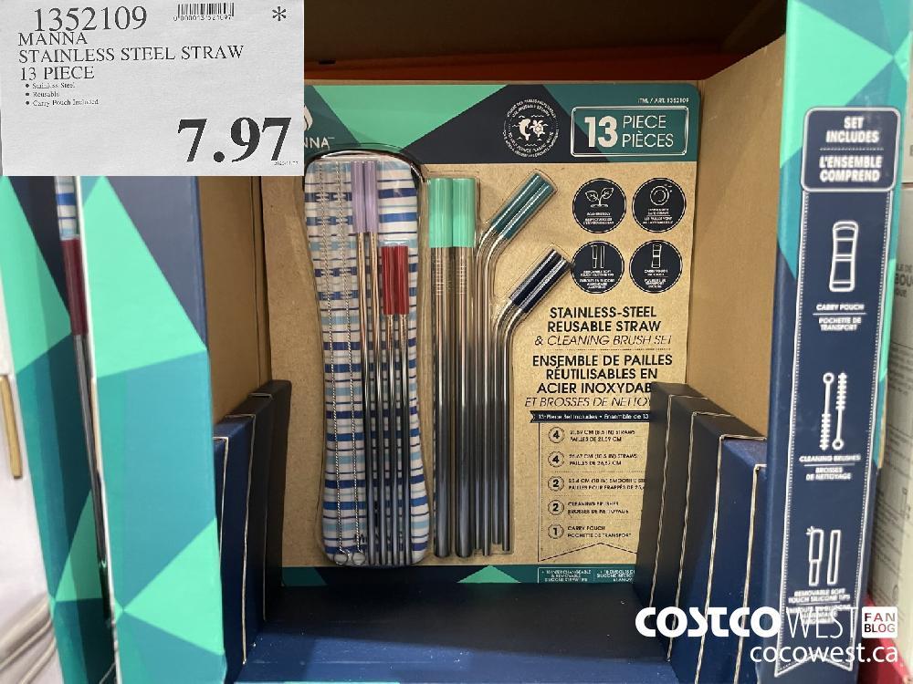 1352109 MANNA STAINLESS STEEL STRAW 13 PIECE $7.97