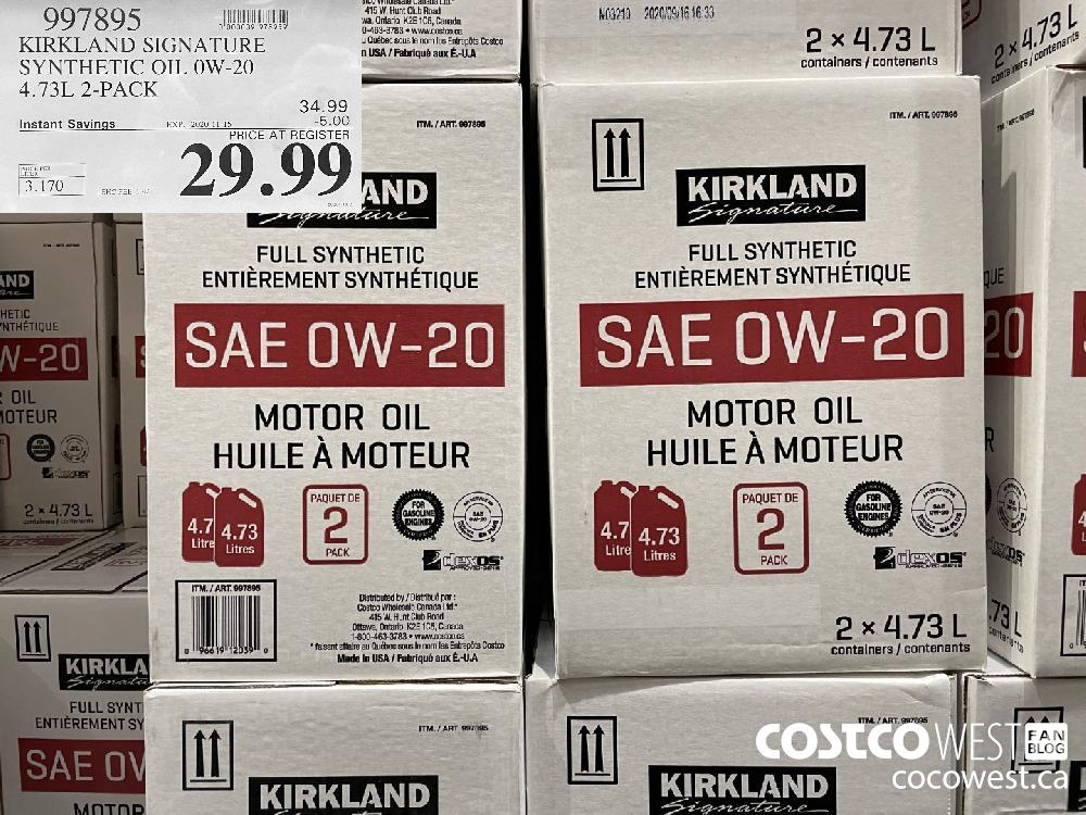 997895 KIRKLAND SIGNATURE SYNTHETIC OIL OW-20 4.73L 2-PACK EXP. 2020-11-15 $29.99