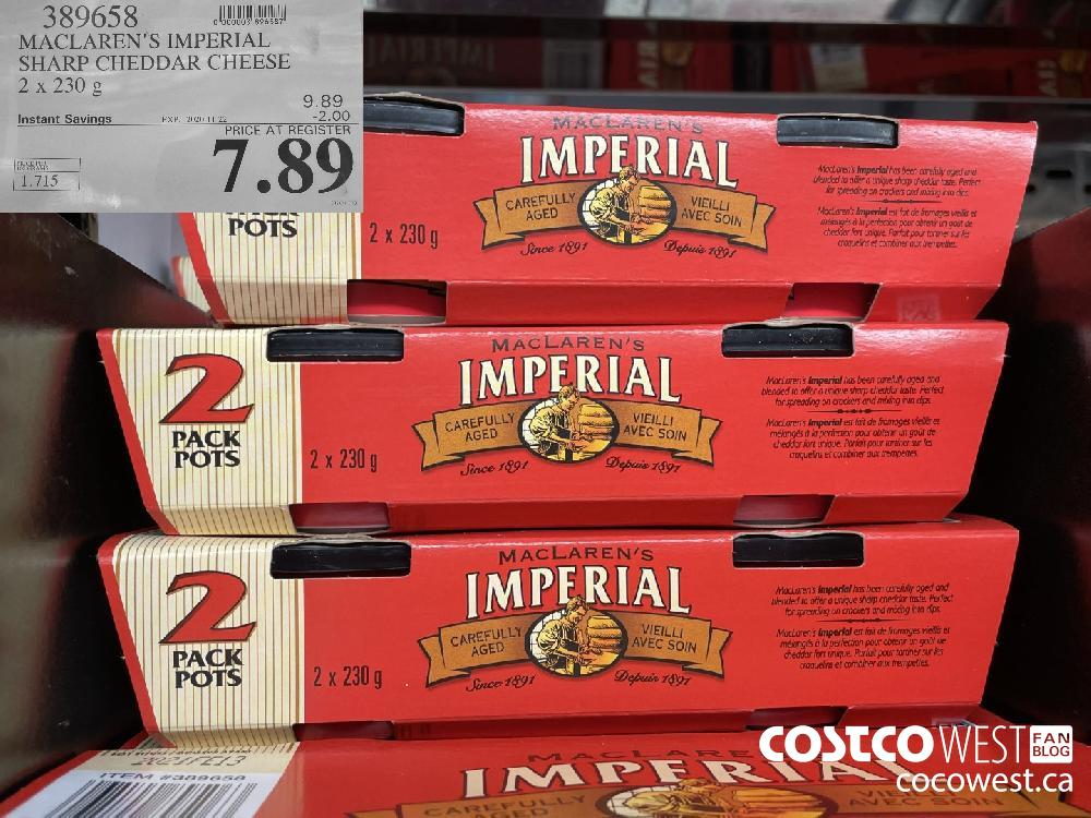 389658 MACLAREN'S IMPERIAL SHARP CHEDDAR CHEESE 2 x 23 g EXP. 2020-11-22 $7.89