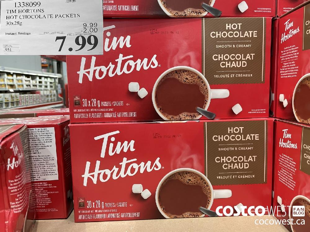 1338099 TIM HORTONS HOT CHOCOLATE PACKETS 30x28g EXP. 2020-11-22 $7.99