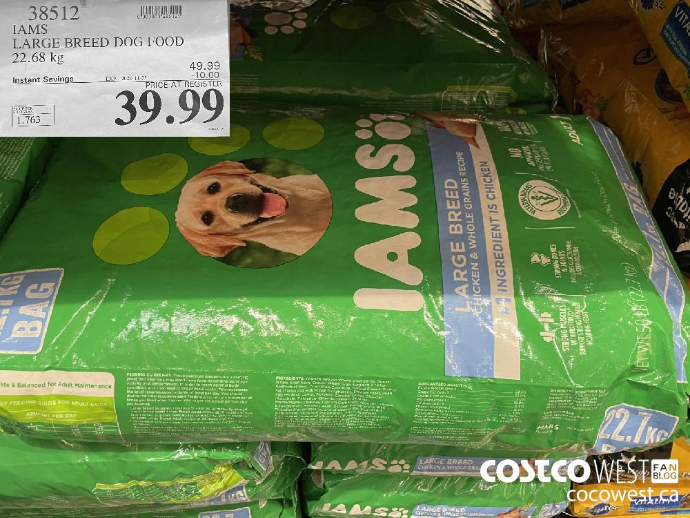 38512 IAMS LARGE BREED DOG FOOD 22.68 kg EXP. 2020-11-22 $39.99