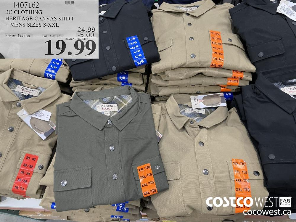 1407162 BC CLOTHING HERITAGE CANVAS SHIRT MENS SIZES S-XXL EXP. 2020-11-22 $19.99