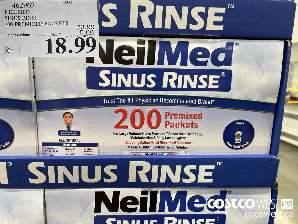 462963 NEILMED SINUS RINSE 200 PREMIXED PACKETS EXP. 2020-11-22 $18.99
