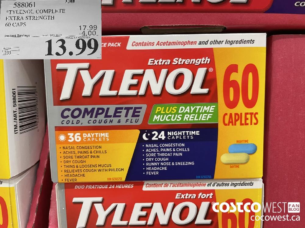 588061 TYLENOL COMPLETE EXTRA STRENGTH 60 CAPS EXP. 2020-11-22 $13.99