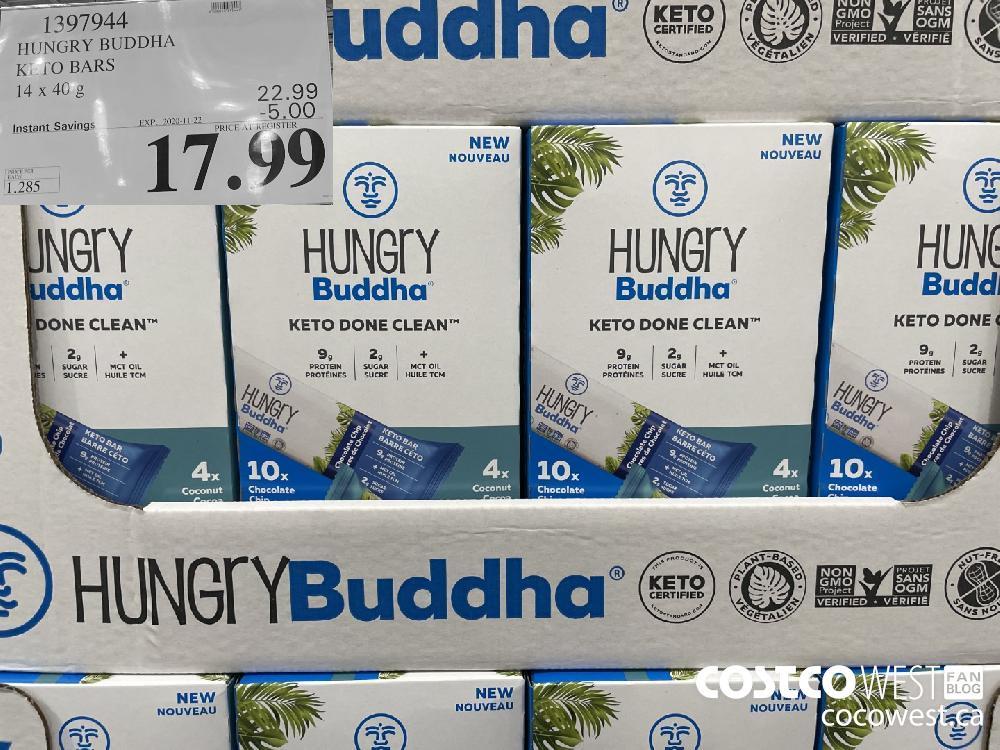 1397944 HUNGRY BUDDHA KETO BARS 14 x 40 g EXP 2020-11-22 $17.99