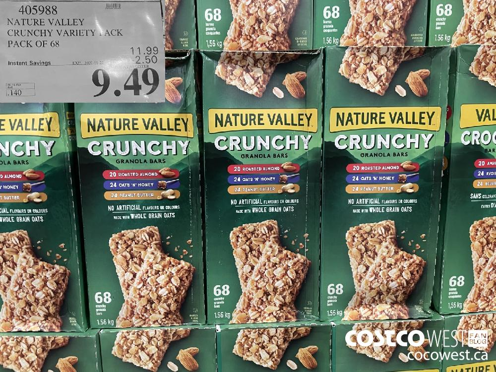 405988 NATURE VALLEY CRUNCHY VARIETY PACK PACK OF 68 EXP. 2020-11-22 $9.49
