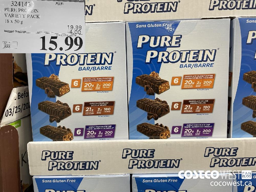324145 PURE PROTEIN VARIETY PACK 18 x 50 g EXP. 2020-11-15 $15.99
