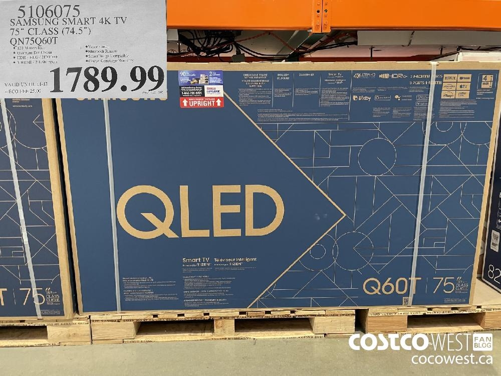 "5106075 SAMSUNG SMART 4K TV 75"" CLASS (74.5"") QN75Q60T $1789.99"