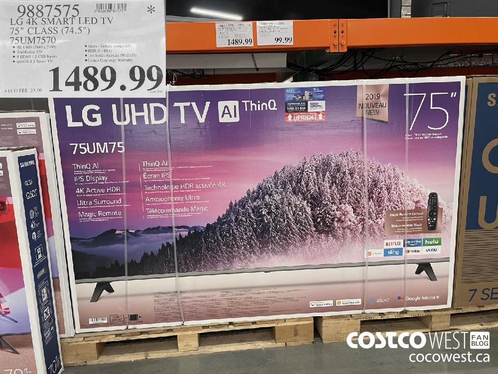 "Q887575 LG 4K SMART LED TV 75"" CLASS (74.5"") 75UM7570 $1489.99"
