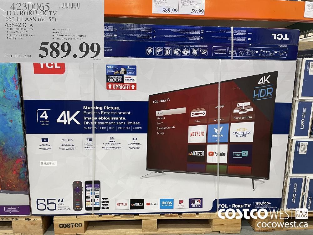 """4230065 TCL ROKU 4K TV 65"""" CLASS (64.5"""") 65S423CA $589.99"""