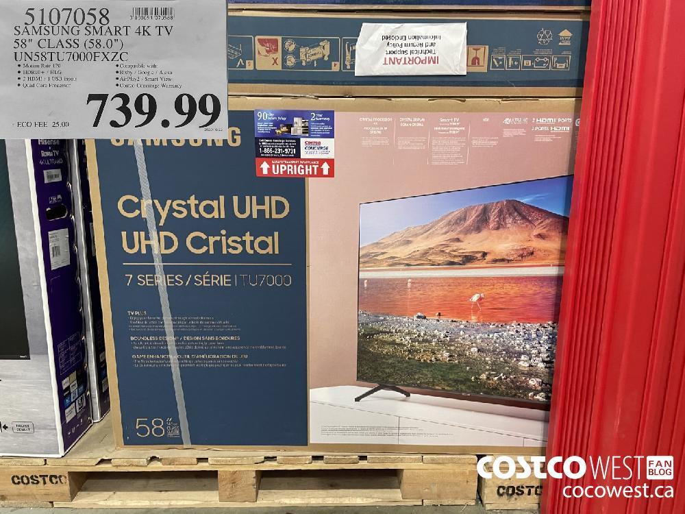 "5107058 SAMSUNG SMART 4K TV 58"" CLASS (58.0"") UNS8TU7000FXZC $739.99"
