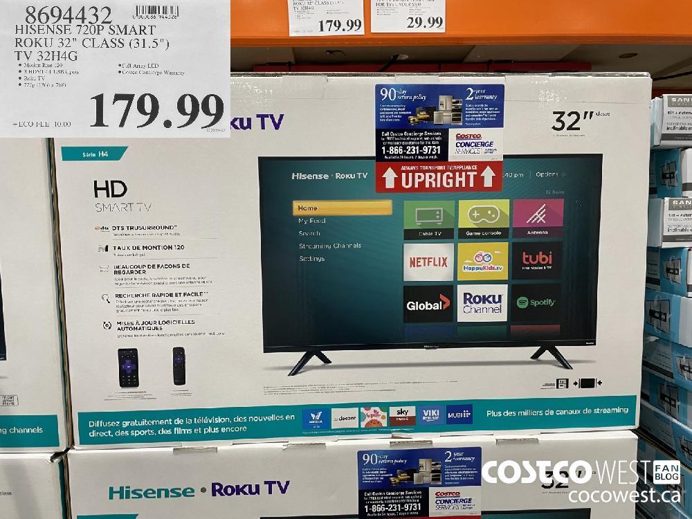 "8694432 HISENSE 720P SMART ROKU 32"" CLASS (31.5"") TV 32H4G $179.99"