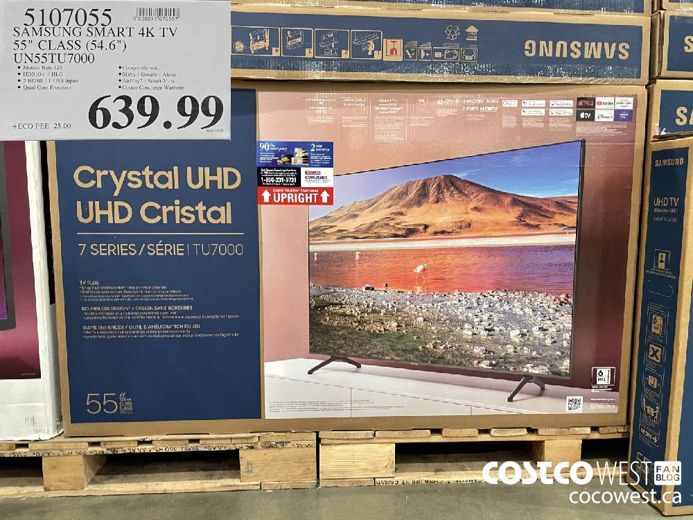 "5107055 SAMSUNG SMART 4K TV 558 CLASS (54.6"") UNS55TU7000 $639.99"