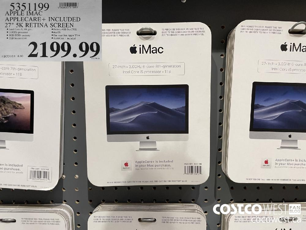 "5351199 APPLE IMAC APPLECARE INCLUDED 27"" 5K RETINA SCREEN $2199.99"