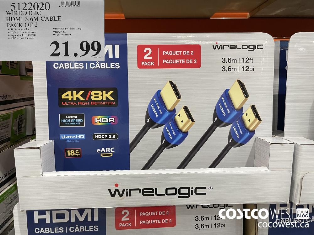 5122020 WIRELOGIC HDMI 3.6M CABLE PACK OF 2 $21.99