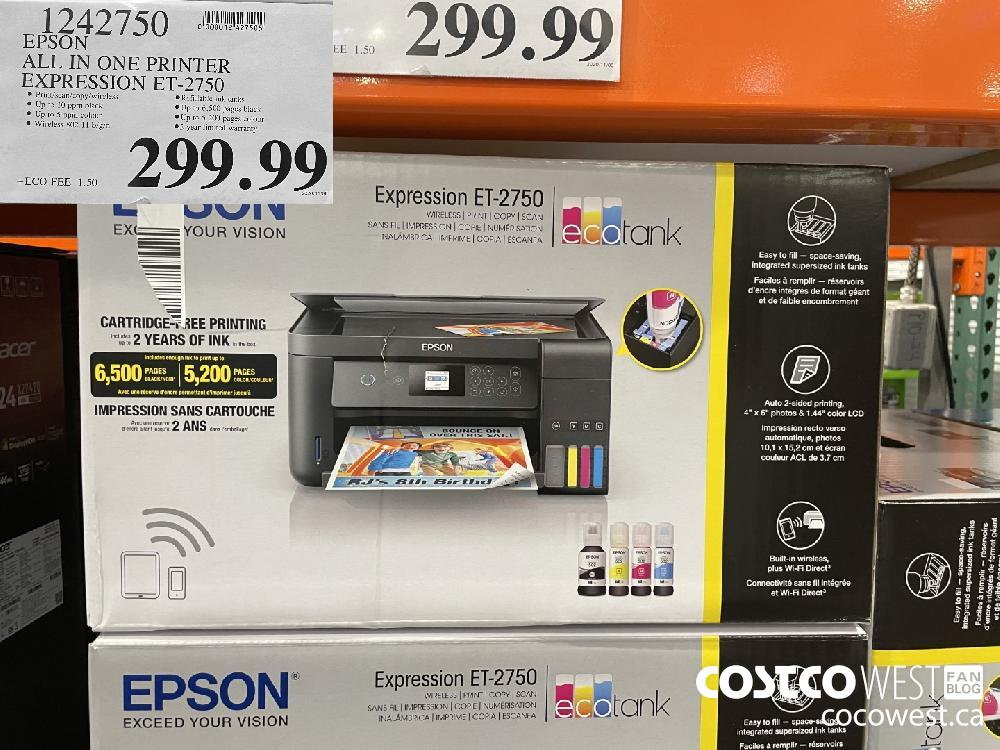 1242750 EPSON ALL IN ONE PRINTER EXPRESSION ET-2750 $299.99