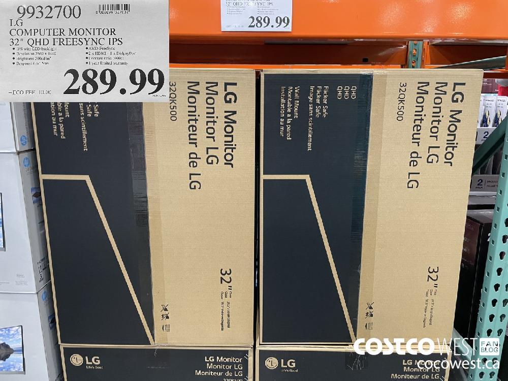 "9932700 LG COMPUTER MONITOR 32"" QHD FREESYNC IPS $289.99"