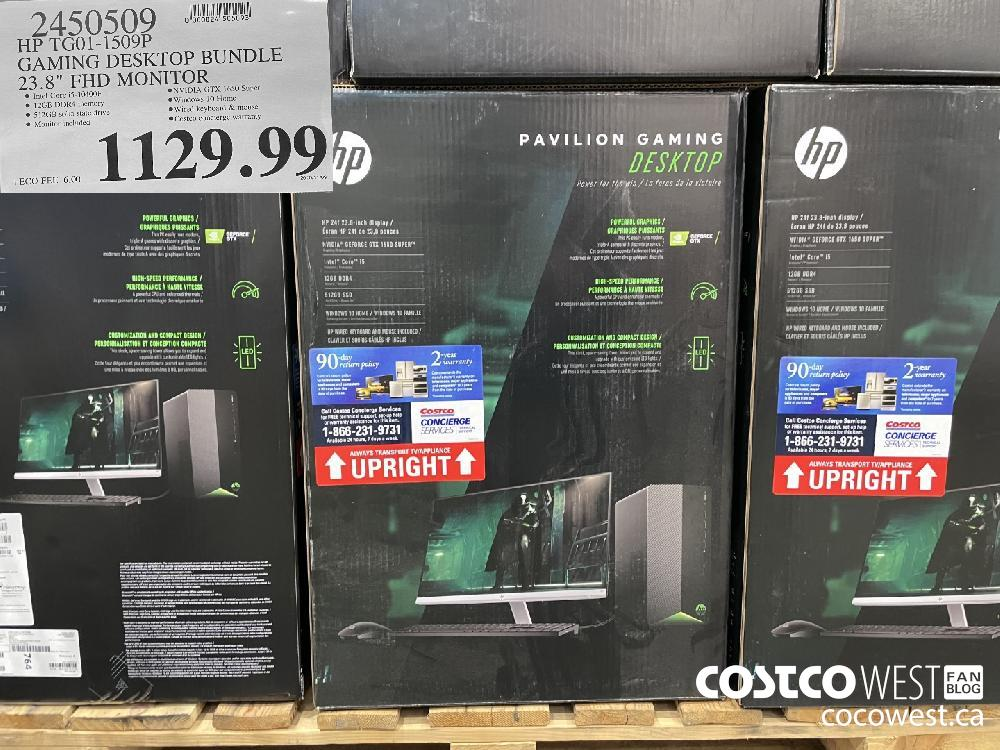 "2450509 HP TGO01-1509P GAMING DESKTOP BUNDLE 23.8"" FHD MONITOR $1129.99"