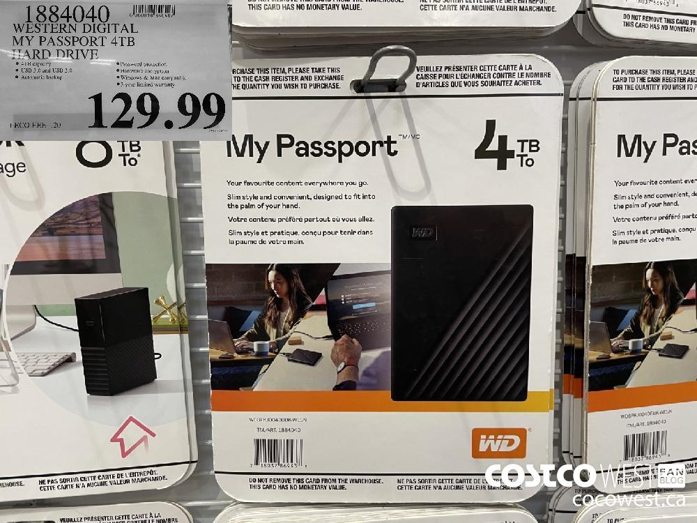1884040 WESTERN DIGITAL MY PASSPORT 4TB HARD DRIVE $129.99
