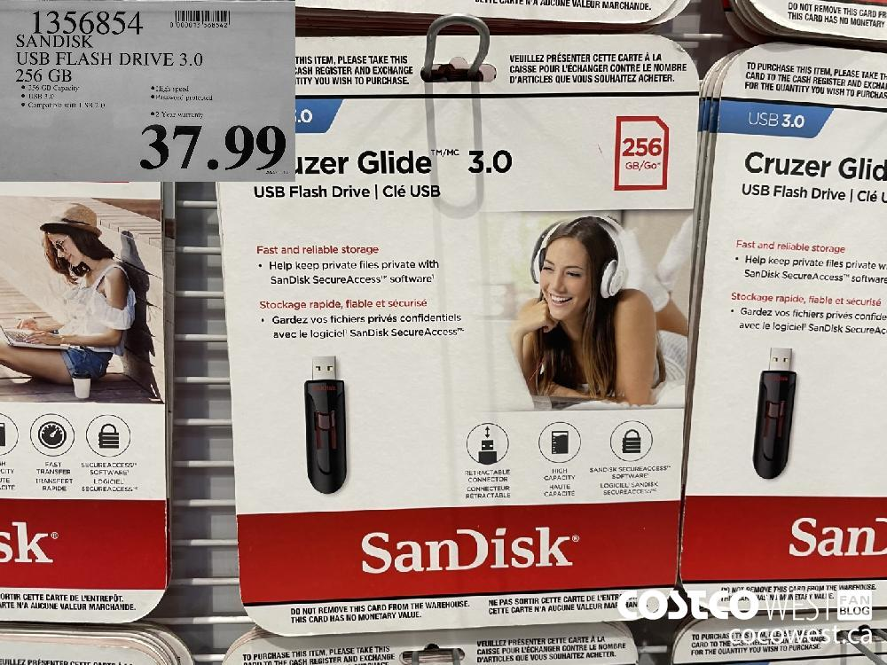 1356854 SANDISK USB FLASH DRIVE 3.0 256 GB $37.99