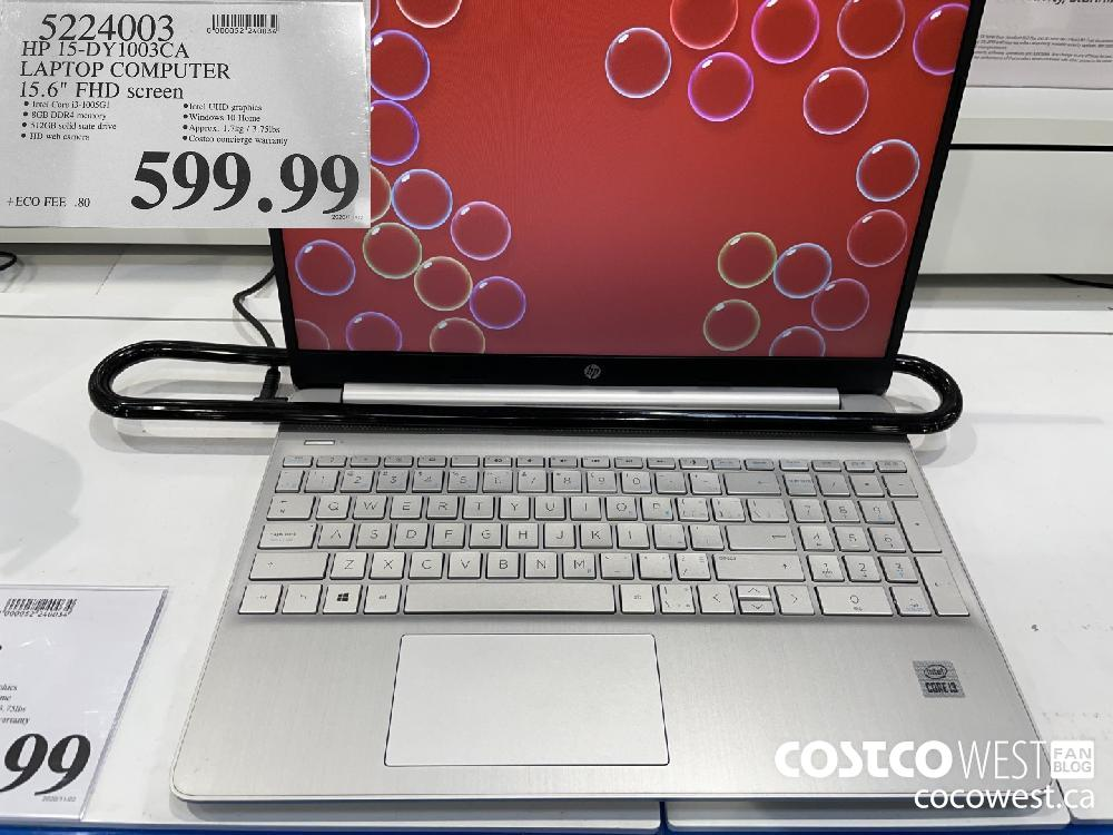 "5224003 HP 15-DY1003CA LAPTOP COMPUTER 15.6"" FHD screen $599.99"