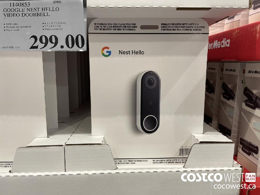 1140853 GOOGLE NEST HELLO VIDEO DOORBELL $299.99