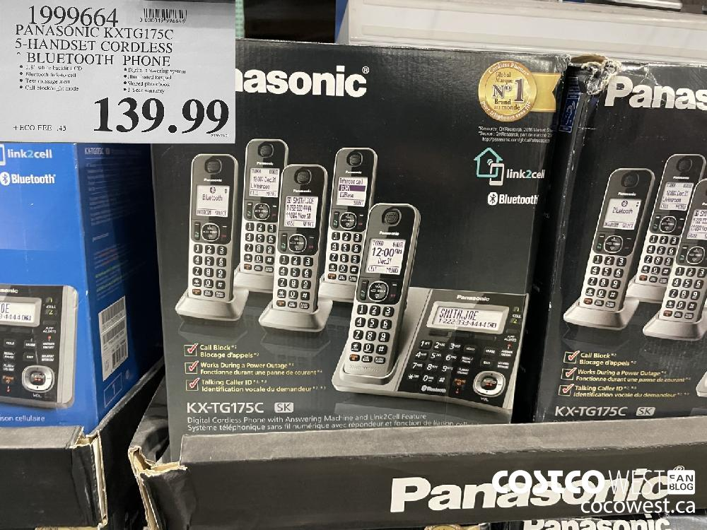 1999664 PANASONIC KXTG175C 5-HANDSET CORDLESS BLUETOOTH PHONE $139.99