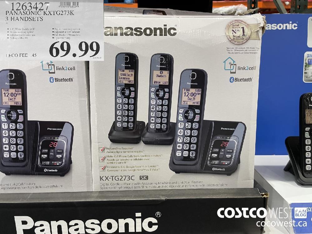 1263427 PANASONIC KXTG273K 3 HANDSETS $69.99