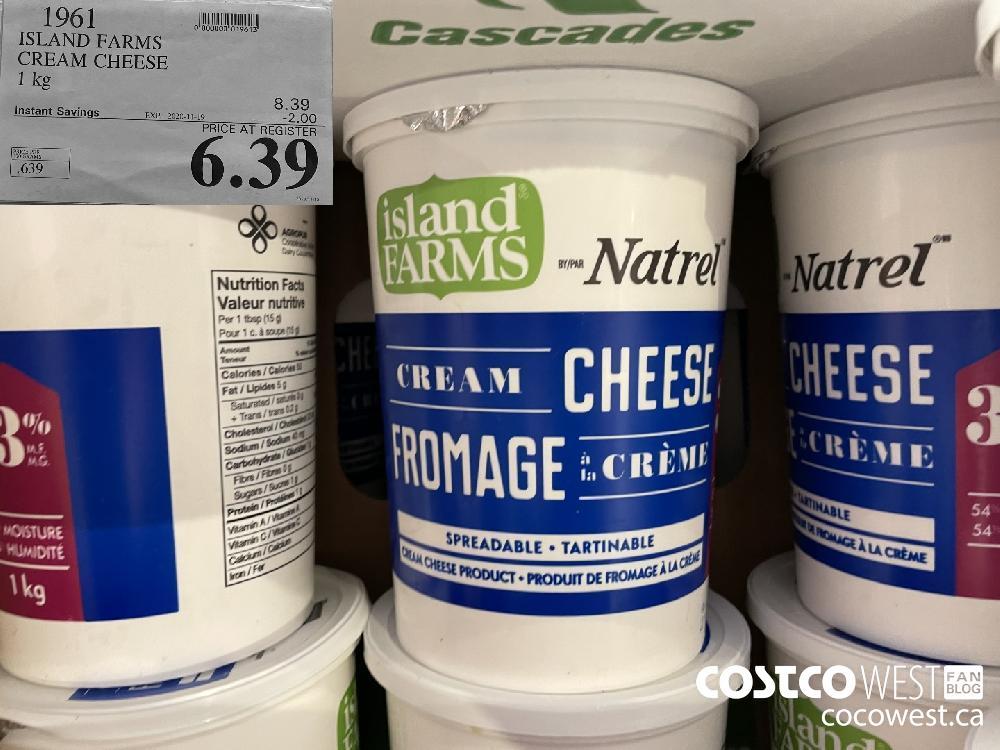 1961 ISLAND FARMS CREAM CHEESE 1 kg EXP. 2020-11-19 $6.39