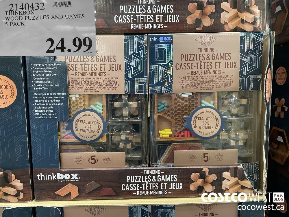 2140432 THINKBOX WOOD PUZZLES AND GAMES 5 PACK $24.99