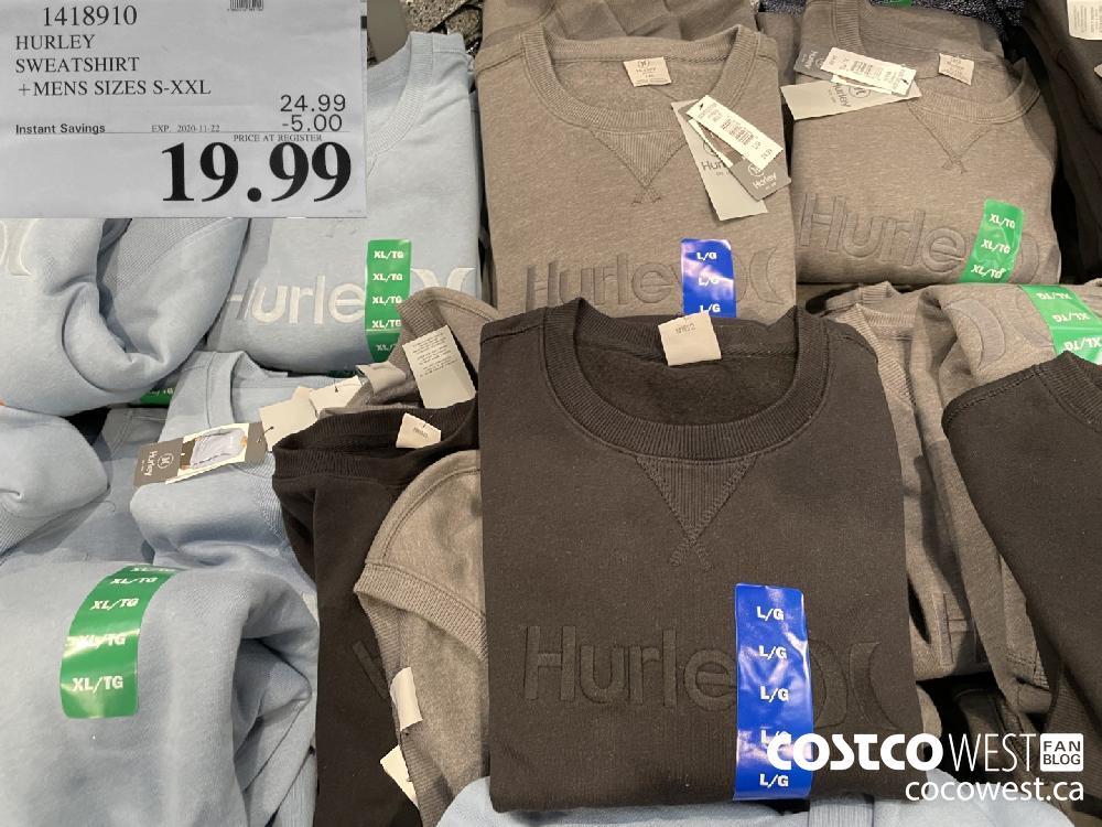 1418910 HURLEY SWEATSHIRT MENS SIZES S-XXL EXP. 2020-11-22 $19.99